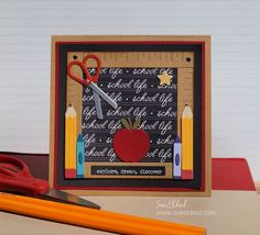 Made using the New School Essentials Die from The Maker's Movement. @jointhemakersmovement #BacktoSchool Back To School Pictures, Creative Workshop, School Essentials, The New School, School Life, Scrapbook Pages, Diy, Paper Crafts, Handmade Cards