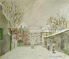 artnet Galleries: Montmartre, Rue du Mont-Cenis by Maurice Utrillo from Daphne Alazraki Fine Art