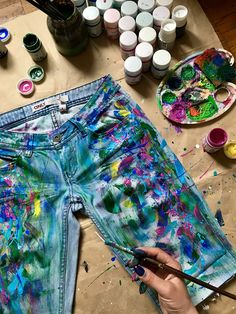 Paint splatter Jeans Spray paint clothing Blots jeans Spray paint Paint Splatter Jeans festival clothing Boho jeans Art jeans Wearable art