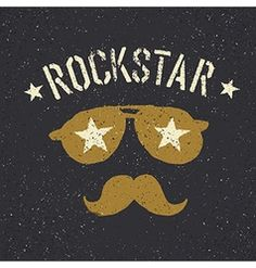 Rockstar sunglasses with stars and moustache with vector