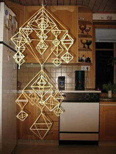 Straw Art, Paper Chandelier, Straw Crafts, Straw Weaving, Handmade Ornaments, Home Crafts, Christmas Cards, Ceiling Lights, Traditional