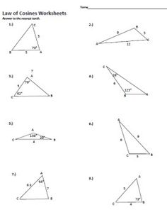 sin and cosine worksheets law of cosines law and worksheets. Black Bedroom Furniture Sets. Home Design Ideas