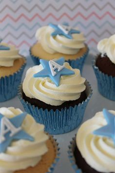 Different colour with each child's initial Baptism Cupcakes, Baby Shower Cupcakes, Shower Cakes, Star Cupcakes, Cupcakes For Boys, Baby Boy Cupcakes, Christening Cake Boy, Occasion Cakes, Celebration Cakes