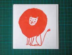 Orange lion card by Lizzy Stewart