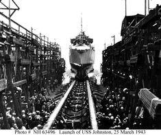 USS Johnston (DD-557)    Sliding down the building ways at the Seattle-Tacoma Shipbuilding Corporation shipyard, Seattle, Washington, 25 March 1943