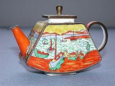 Beautiful Vintage 2001 Kevin Chen 292 Tin Enamel Miniature Teapot