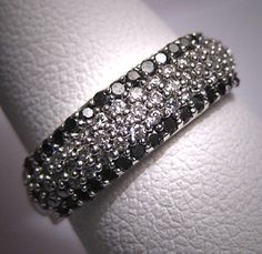 Vintage 14K Black White Diamond Wedding Ring Band, $995.00