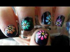 flower for spring nail art tutorial (short nails) - YouTube