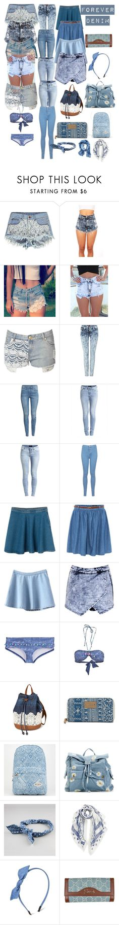 """""""Forever Denim"""" by morgan0624 ❤ liked on Polyvore featuring Boohoo, Levi's, Jane Norman, 7 For All Mankind, H&M, Object Collectors Item, Miss Selfridge, Monki, Therapy and Banana Moon"""