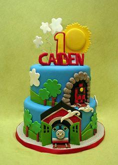Thomas the train birthday cake, though I don't care for fondant Thomas Birthday Cakes, Thomas Birthday Parties, Thomas Cakes, Trains Birthday Party, First Birthday Cakes, Train Party, 3rd Birthday, Birthday Ideas, Thomas And Friends Cake