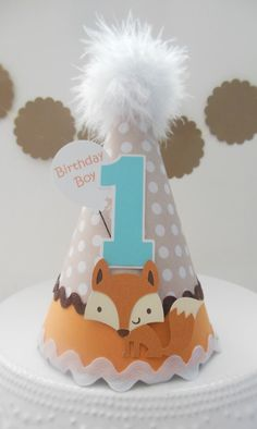 Lil Fox – Woodland Birthday Party Hat – Brown, Tan, Mango Orange and Aqua Teal Blue- Personalized Lil Fox Woodland Birthday Party Hat Brown by SandysSpecialtyShop Wild One Birthday Party, Birthday Party Hats, Baby Boy 1st Birthday, First Birthday Parties, First Birthdays, Elmo Birthday, Dinosaur Birthday, Party Animals, Animal Party