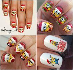 Minion Christmas Nails