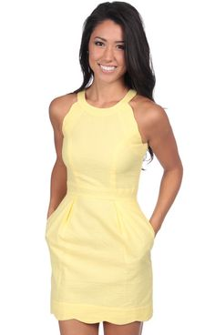 I don't usually wear yellow, but I LOVE this dress!  Yellow - The Landry Solid Seersucker Dress Front XS
