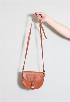 Vintage 1970's  Tan Buckled Leather Hand Bag