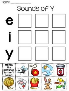 Sound of Y! FREE cut and paste worksheet to help students practice the sounds of Y! Included in both color and black & white students can color. If you like it, I'd love if you could take a second to leave feedback as well! :) I have more worksheets in this same style: Digraphs Worksheets Beginning Sounds Worksheets Pack Bossy R Fun Worksheets and more coming!