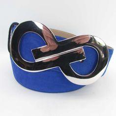 Damengürtel royalblau 4 cm breit mit silberner...