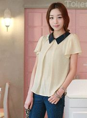 contrast collar inverted pleat sheer blouse  CODE: VNM3417  Price: SG $52.30 (US $42.18)
