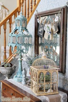 Creative Country Mom's: Soft, Pretty Vintage Decor in my Front Entry and Stairway
