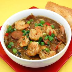 Creole-Style Shrimp and Sausage Gumbo - this is a great gumbo recipe... I don't use clam juice (I like to use a good homemade stock).  I use fresh okra and saute it by itself to de-slime it a little (I don't like slimy gumbo - I just depend on the roux to thicken it).  I think that a little ground allspice, clove, and mace are KEY... ♥cdef