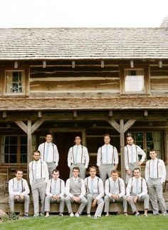 love the groomsmen attire with just suspenders and tie and the groom in just a vest