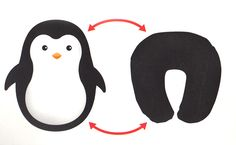 Seriously cute convertible travel pillow for kids: The penguin (or bear) zips into itself to become a headrest style pillow