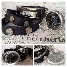 Black leather wrap bracelet, vintage silver oval locket, black crystal embellished screen, graphite locket bracelet.   http://SouthHillDesigns.com/TammyTamayo