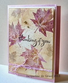 Jacqueline's Craft Nest: An Autumn share using Hero Arts (leaf image) & gold glitter Making Greeting Cards, Greeting Cards Handmade, Fall Cards, Holiday Cards, Karten Diy, Leaf Cards, Origami, Beautiful Handmade Cards, Stamping Up Cards