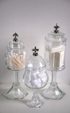 FLEUR DE LIS Glass Apothecary Jars, Set of 3 Shabby Chic Boudoir Pedestals, French Country Decor, Bathroom Vanity Organizer, Candy Bar Jars