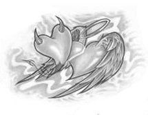 Angel and Devil Tattoos Drawings Angel Devil Tattoo, Angel And Devil, Trippy Drawings, Tattoo Drawings, Good And Evil Tattoos, Partner Tattoos, Couple Tattoos, Aztec Tattoo Designs, Body Art Tattoos