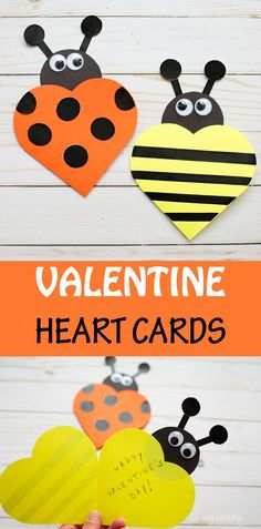 Valentine Heart Cards: Ladybug And Bee Cards For Kids To MakeYou can find Heart cards and more on our website.Valentine Heart Cards: Ladybug And Bee Cards For Kids To Make Valentines Day Cards Handmade, Kinder Valentines, Valentine Crafts For Kids, Valentines Diy, Valentine Heart, Bee Crafts For Kids, Diy Valentine's Hearts, Baby Showers, Valentine's Cards For Kids