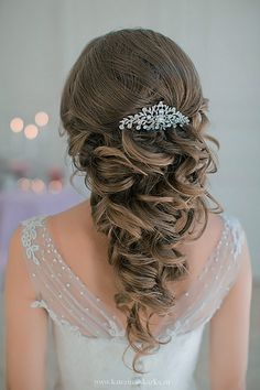 Bridal Wedding Hairstyles for Long Hair – Hair Care Tips Wavy Wedding Hair, Hairdo Wedding, Vintage Wedding Hair, Bridal Hair, Prom Hair, Wedding Hairstyles For Long Hair, Bride Hairstyles, Wavy Hairstyles, Formal Hairstyles
