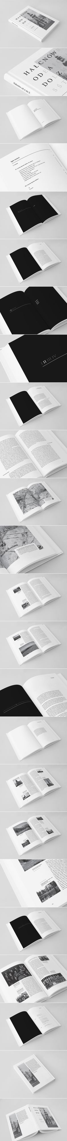 Halcnow od A so Z book (beautiful type treatment + layout) Book Design Layout, Print Layout, Graphic Design Layouts, Freelance Graphic Design, Book Cover Design, Editorial Design Layouts, Web Design, Print Design, Type Treatments