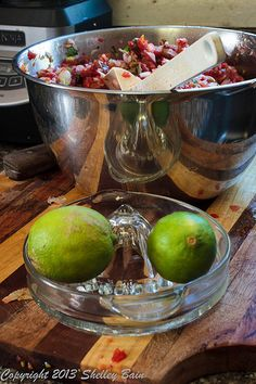 I like the taste of a little lime in my salsa - Making Salsa, How To Make Salsa, My Salsa, Serving Bowls, Lime, Tableware, Limes, Dinnerware, Dishes