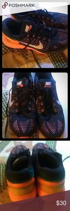 Nike Lunarglide 7 (Mens) Black & Orange Mens Nike Tennis Shoes, in great condition basically brand new only worn twice size 10.5 ....no rips stains tares excellent condition Nike Shoes Athletic Shoes