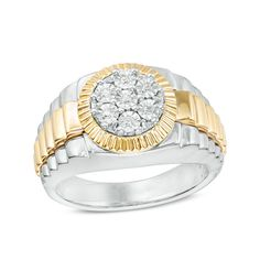 This men's ct. composite diamond framed ring is set in cool white and gold plated sterling silver. A ribbed pattern design lines the rings shank. Sterling silver rings cannot be resized after purchase. Pagoda Jewelry, Size 10 Rings, Diamond Stone, Diamond Jewelry, Sterling Silver Rings, Fresh Outfits, Engagement Rings, Shank, Gift Guide