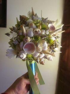 DIY Seashell Bouquet!! :  wedding beach seashell bouquet beach wedding blue bouquet ceremony diy