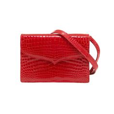 Lana Marks Red Alligator Shoulder or Clutch Bag   From a collection of rare vintage shoulder bags at https://www.1stdibs.com/fashion/handbags-purses-bags/shoulder-bags/