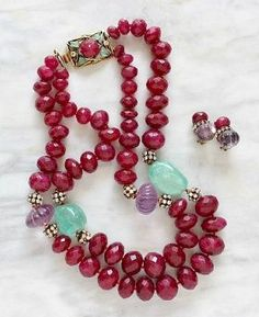 Iradj Moini Ruby, Amethyst and Emerald necklace