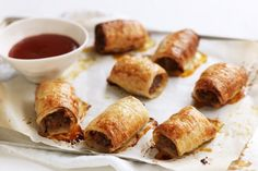 Taste member 'katebatty' shares her very popular recipe for homemade sausage rolls. Taste member 'katebatty' shares her very popular recipe for homemade sausage rolls. Healthy Sausage Rolls, Homemade Sausage Rolls, Thermomix Sausage Rolls, Best Sausage Roll Recipe, Veal Recipes, Cooking Recipes, Pastry Recipes, Quiche Recipes, Vegetarian Cooking