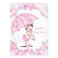 Shop Pretty Baby Shower Pink Umbrella Girl Flowers Invitation created by VintageBabyShop. Flower Invitation, Baby Shower Invitations, Zazzle Invitations, Baby Girl Sprinkle, Pink Umbrella, Couples Baby Showers, Baby Shower Vintage, Baby Shower Invites For Girl, Create Your Own Invitations