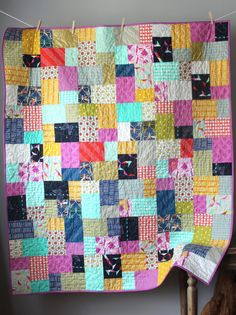 Modern Lap Quilt Moonlit Quilt Cotton and Steel by GoBeWonderful