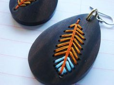 FALL FEATHERWEIGHTEmbroidered Wood Earrings Orange by IbbyAndRufus