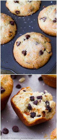 My very favorite chocolate chip muffin recipe! Try adding a chocolate drizzle on top too - so good.