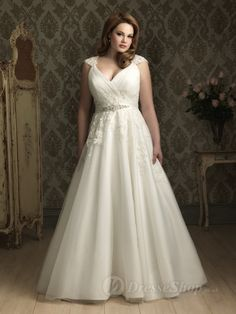 Ball Gown V-Neck Lace Tulle Chapel Train Plus Size Wedding Dress