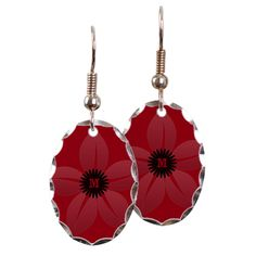 Bright Vintage Style Red Jasmine Earring Oval Charms