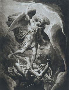 Domitor Invictus — James Barry - Fall of Satan Angels Among Us, Angels And Demons, Catholic Art, Religious Art, Archangel Michael Tattoo, Saint Michael Tattoo, James Barry, St Micheal, Religious Tattoos