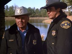 """Carroll O'Connor as Chief Gillespie - Alan Autry as Bubba Skinner - """"In the heat of the night."""""""