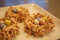 bird nests for spring. Make with no bake cookies instead.