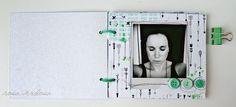 rosa verdosa. scrapbook. mini album. black. white. green. SODAlicious