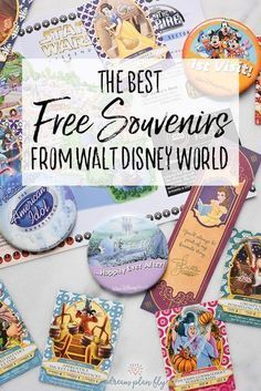 A trip to Walt Disney World is expensive, but there are magical touches that make the whole trip worth it! Find the Best Free Souvenirs from Walt Disney World like celebration pins, a bookmark from Belle, park maps, Sorcerers of the Magic Kingdom cards and more! These Disney freebies will make your vacation magical! - Dream Plan Fly